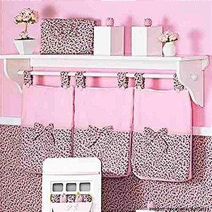 Porta Fraldas Rosa Chocolate 3 Pçs Menina