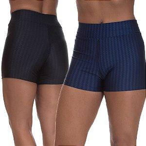 Kit 2 Shorts Cirre 3D Poliamida Azul Marinho E Preto