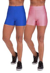 Kit 2 Shorts Cirre 3D Poliamida Azul Royal E Rose