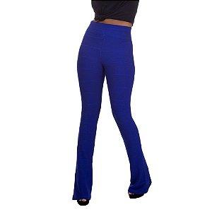 Calça Feminina Cintura Alta Flare Bandagem Azul Royal