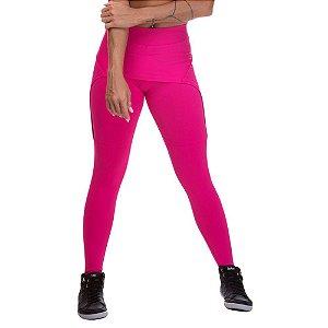 Calça Legging Feminina Miss Blessed Com Saia Sobreposta Rosa Escuro
