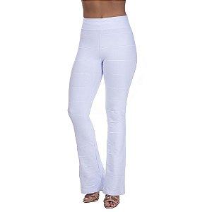 Calça Feminina Cintura Alta Flare Bandagem Branco