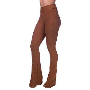 Calça Feminina Cintura Alta Flare Bandagem Caramelo
