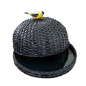 Boleira De Vime Natural Porcelana Pássaro