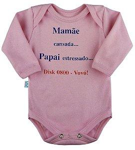 Body Frases Divertidas - Mamãe Cansada... Ligue 0800 Vovó - Manga Longa