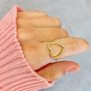 Anel Coração Zirconia Ouro