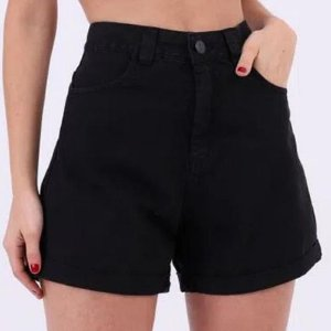 Shorts Mom Preto Lady Rock