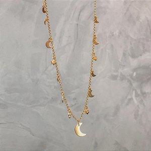 Colar Lua e Estrelas Ouro