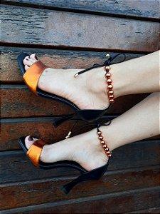 Sandália Salto Alto Metalizado