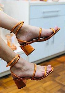 Sandália Metalizada Salto Bloco