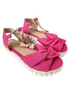 Sandália Flatform Amarração Rosa