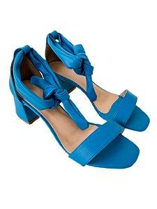 Sandália Salto Laço Azul
