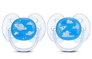 Chupeta Ultra Soft Dupla Foguete e Nuvens 6-18M - Menino - Philips Avent