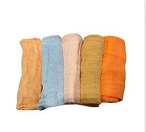 Kit de 5 Fraldas de Ombro em Musselina 60 X 60 Lisos Coloridos