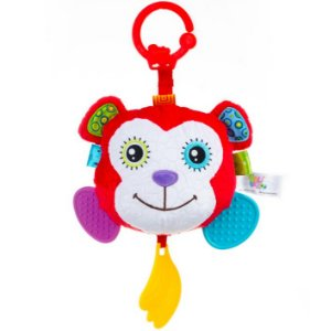 Plush Hanging Teether With Round Mirror – Monkey