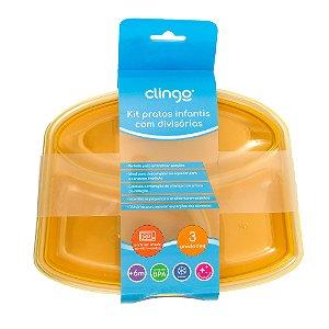 Kit 3 Pratos com Divisórias - Clingo