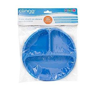 Prato Silicone com Divisória Azul - Clingo