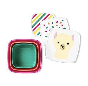 Kit com 3 Porta Snack Zoo Lhama  -Skip Hop