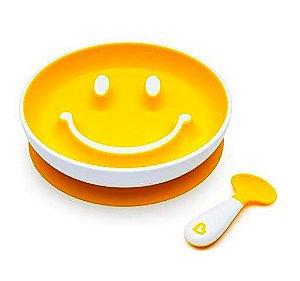 Prato Smile  com Ventosa e Colher  Amarelo - Munchkin