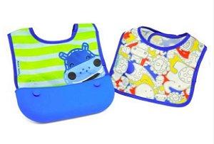 Kit de Babadores  com Bolso  Hipopotamo Azul- Marcus & Marcus
