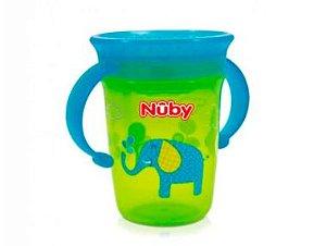 Copo Decorado Com Alça Para Bebê 360º (6m+) - 240ml - Azul e Verde Nuby