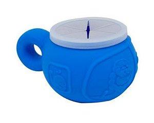 Porta Salgadinho em Silicone com Vedação Grip Azul Hipopotamo