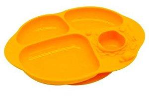 Prato de Silicone com Divisórias e Sucção  Amarelo- Marcus & Marcus