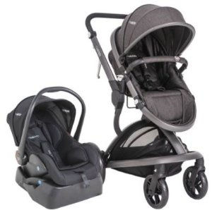 Carrinho de Bebê Travel System Quantum Kiddo Melange Preto + Base