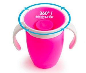 Copo 360 com Alça e Tampa Rosa 207 ml