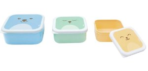 Kit 3 Potinhos Gumy Azul / Amarelo /Verde