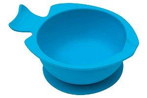 Bowl de Silicone  com Ventosa Azul