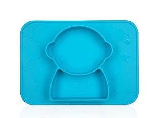 Pratinho de Silicone com Sucção e Divisória Azul - Nuby