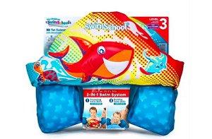 Boia Colete Infantil Salva Vidas Crianças Praia 2 In 1 Azul e Vermelho- Swim School