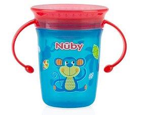 Copo Decorado Com Alça Para Bebê 360º (6m+) - 240ml - Azul e Vermelho Nuby