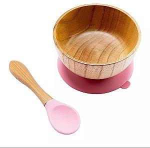 Conjunto de Tigela de Bambu com Silicone Rosa