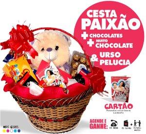 Cesta Paixão Ursinho + Chocolates + Balão
