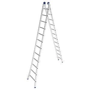 Escada Alumínio Dupla 12 Degraus - 3,65 / 6,20 m (Mor)
