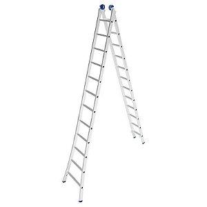 Escada Alumínio Dupla 15 Degraus - 4,49 / 7,57 m (Mor)