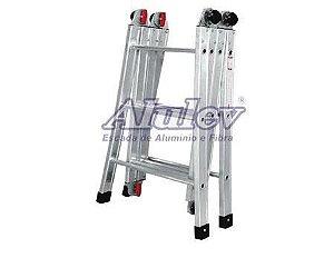 Escada Alumínio Articulada Multifuncional 12 Degraus 3,82 m (Alulev)