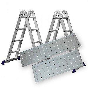 Escada Alumínio Articulada Multifuncional 4x4 - 4,71 m C/ Plataforma Mor