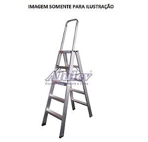 Escada Alumínio Comercial 04 Degraus C/ Alça (Alulev)