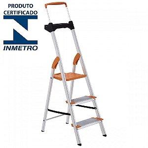 Escada Alumínio Doméstica Residencial 03 Degraus Premium (Tramontina)