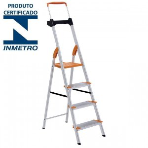 Escada Alumínio Doméstica Residencial 04 Degraus Premium (Tramontina)
