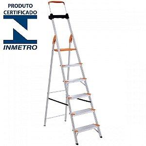 Escada Alumínio Doméstica Residencial 06 Degraus Premium (Tramontina)