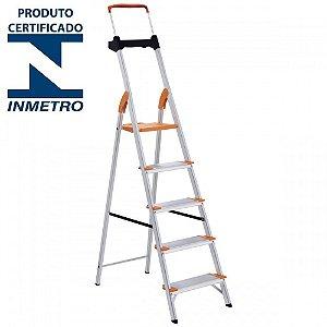 Escada Alumínio Doméstica Residencial 05 Degraus Premium (Tramontina)