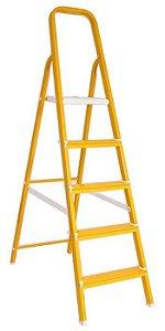 Escada Alumínio Doméstica Residencial Color Amarela 05 Degraus (Reisam)