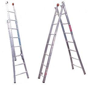 Escada Alumínio Dupla 08 Degraus (Alulev)