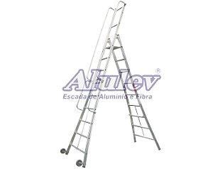Escada Alumínio Plataforma Móvel 2,56 m - 08+P (Alulev)