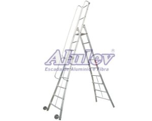 Escada Alumínio Plataforma Móvel 2,85 m - 09+P (Alulev)