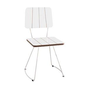 Cadeira Costela B. Meia Lua Aço Branco Lam A.Brilho Branco